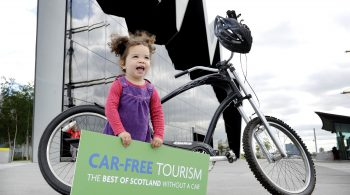 Car-Free Tourism Online Guide Launch, Glasgow, 23/06/2015: Launching an online guide for car-free tourism at Glasgow's Riverside Museum of Transport is two-year old daughter Mae Kalambani (correct). Photography from:  Colin Hattersley Photography - colinhattersley@btinternet.com - www.colinhattersley.com - 07974 957 388